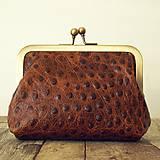 Peňaženky - Rámečková kožená peněženka - hnědá - 11267407_