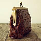 Peňaženky - Rámečková kožená peněženka - hnědá - 11267411_