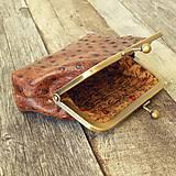 Peňaženky - Rámečková kožená peněženka - hnědá - 11267416_