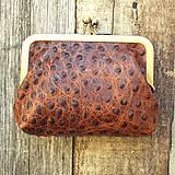 Peňaženky - Rámečková kožená peněženka - hnědá - 11267417_