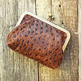Peňaženky - Rámečková kožená peněženka - hnědá - 11267419_