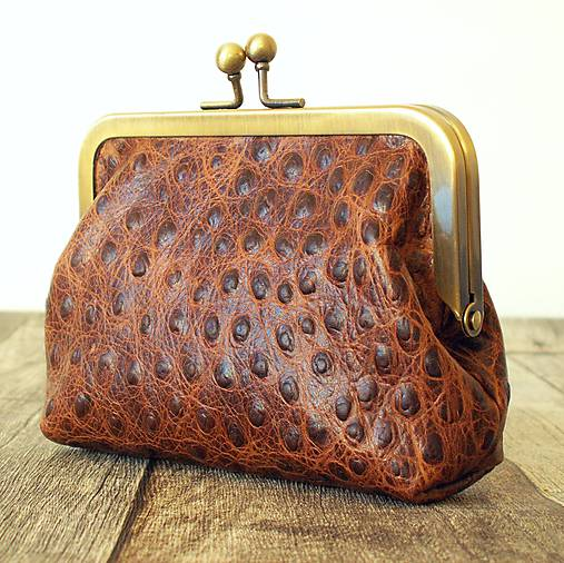 Rámečková kožená peněženka - hnědá