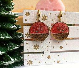 Náušnice - Vianočné náušnice visiace červeno-zlaté, striebro Ag - 11266125_