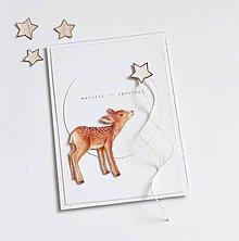 Papiernictvo - Vianočná pohľadnica, srnka - 11269065_
