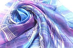 Šatky - Kockovaný hedvábný šátek. - 11270793_