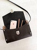 Kabelky - Minimalistická koženo-drevená kabelka - 11271435_