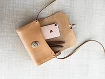 Kabelky - Minimalistická koženo-drevená kabelka - 11271461_