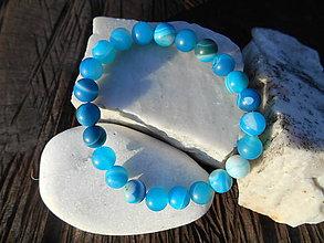 Šperky - blue agata-modrý achát-náramok - 11271578_