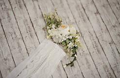 Ozdoby do vlasov - Set svadobná biela spona s hrebienkom zameniteľným za tradičný závoj - 11271522_