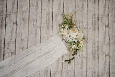 Ozdoby do vlasov - Set svadobná biela spona s hrebienkom zameniteľným za tradičný závoj - 11271524_