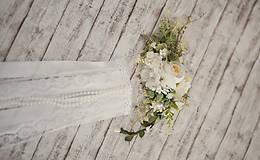 Ozdoby do vlasov - Set svadobná biela spona s hrebienkom zameniteľným za tradičný závoj - 11271525_