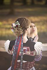 Ozdoby do vlasov - Set svadobná biela spona s hrebienkom zameniteľným za tradičný závoj - 11271533_
