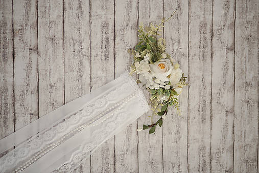 Set svadobná biela spona s hrebienkom zameniteľným za tradičný závoj