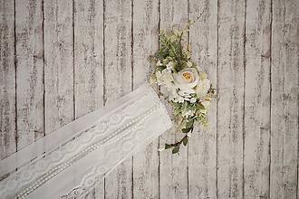 Ozdoby do vlasov - Set svadobná biela spona s hrebienkom zameniteľným za tradičný závoj - 11271521_