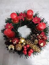 """Svietidlá a sviečky - Adventný veniec """"červeno-zlatý"""" - 11270576_"""