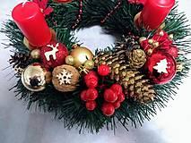 """Svietidlá a sviečky - Adventný veniec """"červeno-zlatý"""" - 11270577_"""