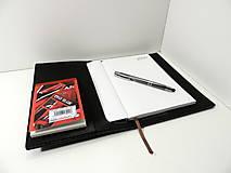 Papiernictvo - Black - kožený obal na zápisník A5 - 11268236_