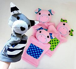 Hračky - Tri prasiatka a vlk - sada maňušiek na ruku - 11270548_