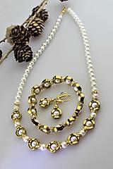 Sady šperkov - hematit s perlou náramok , náušnice a náhrdelník - 11268270_