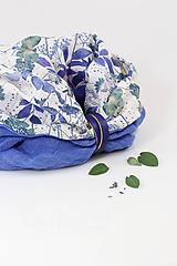"""Šály - Modrý dvojitý kvetinový nákrčník z ľanu """"Bluegarden"""" - 11269409_"""