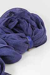 Šatky - Veľký modrofialový ľanový pléd/šatka - 11269445_