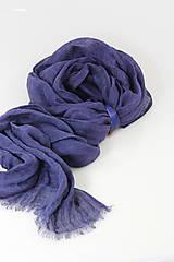 Šatky - Veľký modrofialový ľanový pléd/šatka - 11269446_