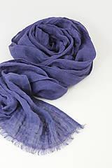 Šatky - Veľký modrofialový ľanový pléd/šatka - 11269448_