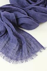 Šatky - Veľký modrofialový ľanový pléd/šatka - 11269449_
