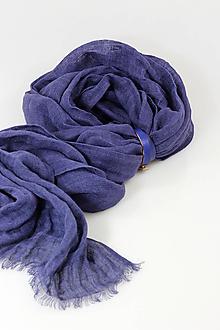 Šatky - Veľký modrofialový ľanový pléd/šatka - 11269447_