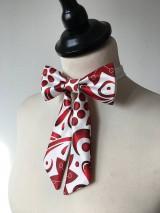 Iné doplnky - dámsky motýlik Červený ornament - 11270560_
