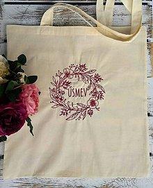 Nákupné tašky - Kvalitná bavlnená taška...Úsmev - 11271362_