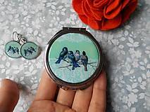 Zrkadielka - Zrkadielko s vtáčikmi X. (zrkadielko + náušničky) - 11270078_