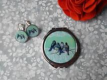 Zrkadielka - Zrkadielko s vtáčikmi X. (zrkadielko + náušničky) - 11270084_