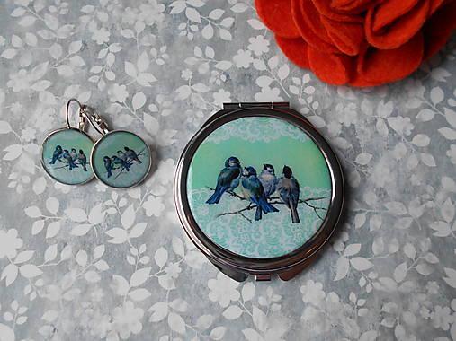 Zrkadielko s vtáčikmi X. (zrkadielko + náušničky)