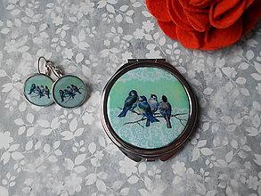 Zrkadielka - Zrkadielko s vtáčikmi X. (zrkadielko + náušničky) - 11270073_
