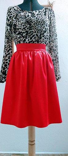 Sukne - Červená saténová sukňa - 11268295_