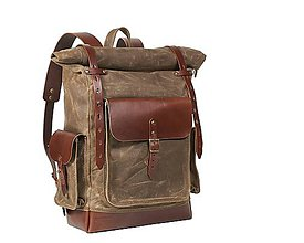 Batohy - Vodeodolný batoh na cestovanie z voskovaného plátna a kože. - 11269482_