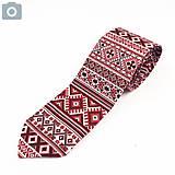 Doplnky - Folklórna kravata slim fit - červenobiela - 11270228_