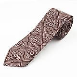 Doplnky - Pánska kravata slim fit - hnedá - 11270244_