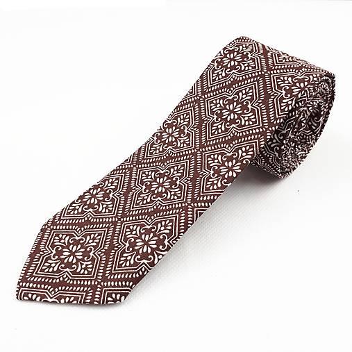 Pánska kravata slim fit - hnedá