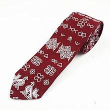 Doplnky - Folklórna kravata slim fit - bordová - 11270187_