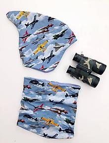 Detské čiapky - Škriatkovská čiapka a nákrčník s motívom lietadiel - 11269428_