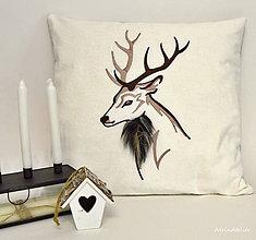 Úžitkový textil - vianočné vankúše (jeleň hnedý) - 11269868_