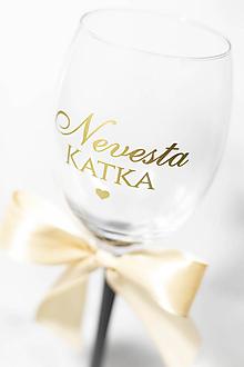 Papiernictvo - Nálepka na svadobný pohár - Nevesta/Ženích + MENO - 11270264_