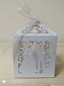 Darčeky pre svadobčanov - Darčeková krabička - biela perleť - 11271612_