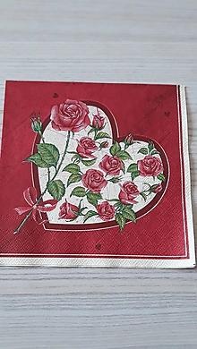 Papier - Servítka ruža a srdcia - 11269827_