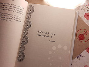 Papiernictvo - Záložka do knihy - čipka (Strieborná) - 11268356_