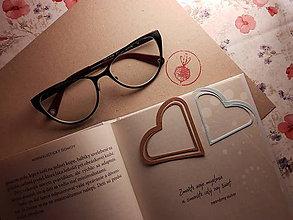 Papiernictvo - Záložka do knihy - srdce (Strieborná) - 11268477_