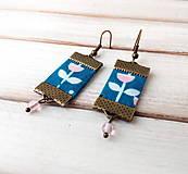 Náušnice - Textilné náušnice S ružovým kvietkom - 11268187_