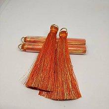 Polotovary - Veľké hodvábne strapčeky - pár (Oranžová) - 11269983_